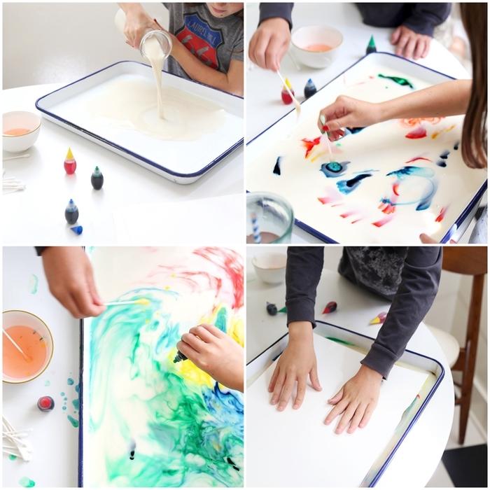 une activité manuelle primaire amusante pour réaliser des peinture abstraites au lait marbré