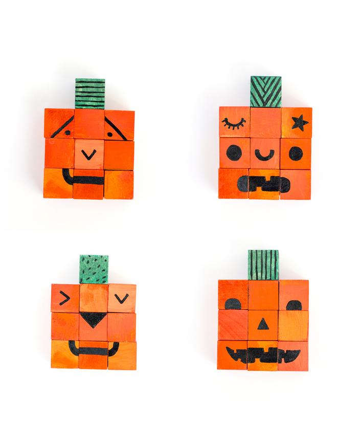 un bricolage facile avec des cubes de bois repeints pour fabriquer un puzzle d'halloween avec ses enfants