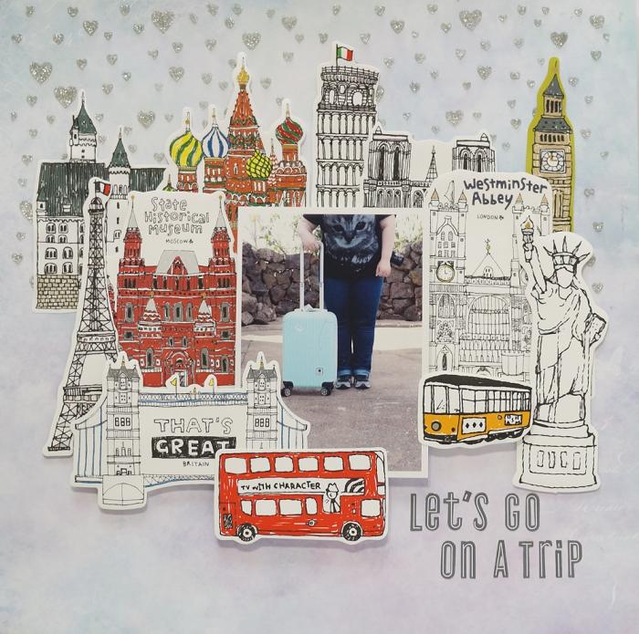 carte postale personnalisée, page scrapbooking à fond gris avec petits coeurs et illustrations des sites touristiques