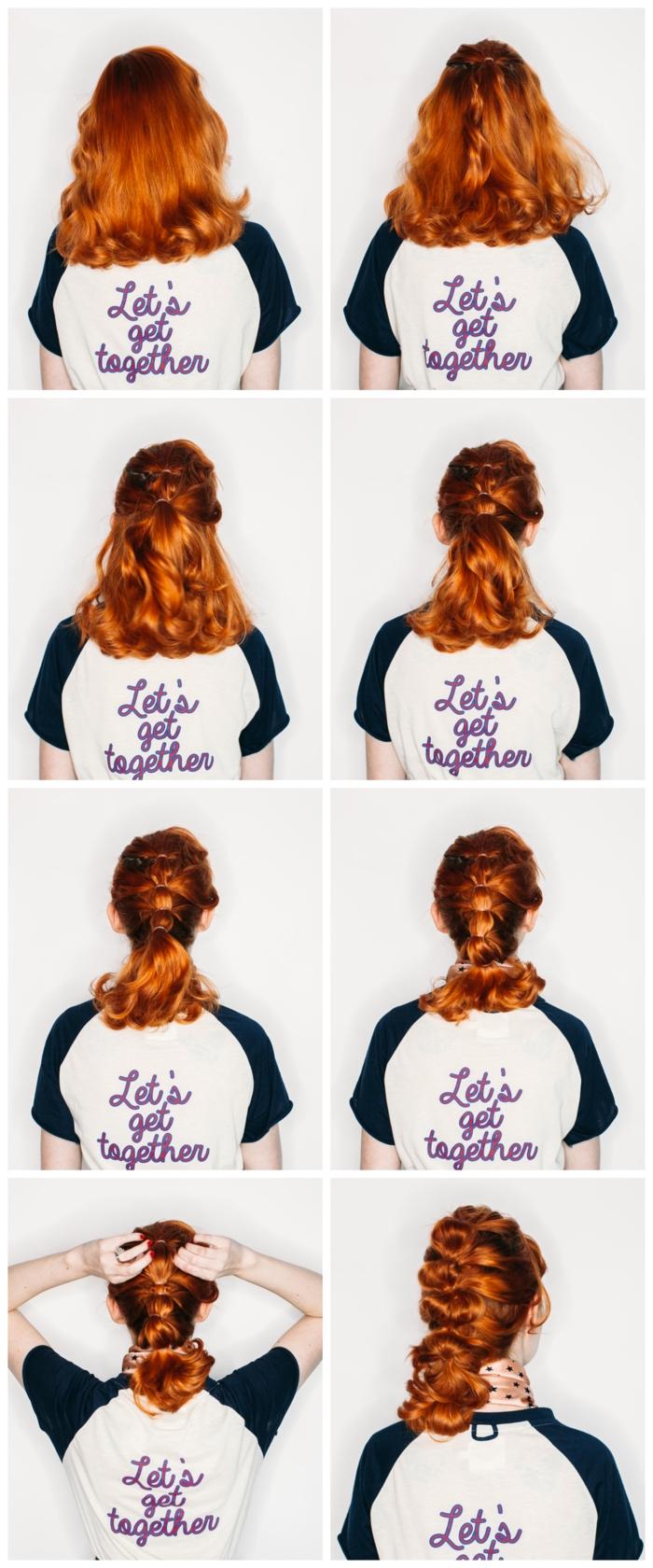 une coiffure cheveux mi-longs en queue-de-cheval bulles à effet coiffé-décoiffé réalisée sur des cheveux roux flamboyants
