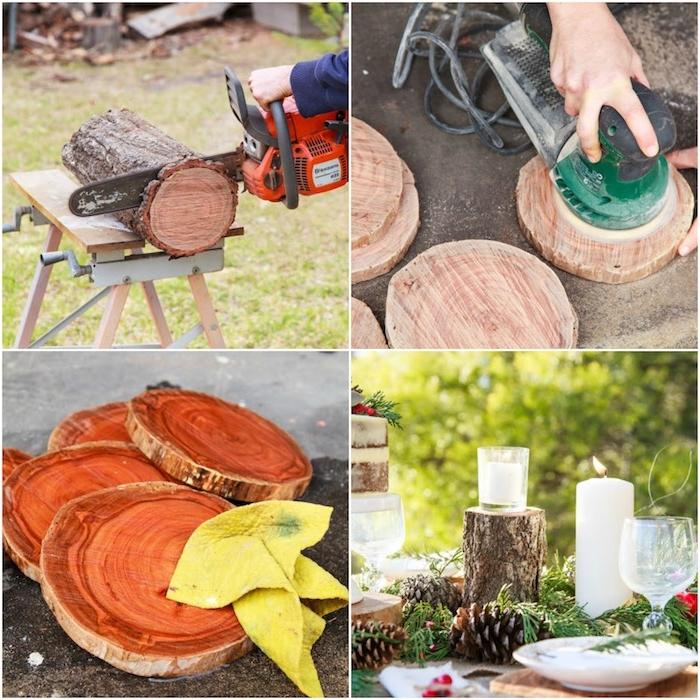 idée comment fabriquer des rondins en bois pour la décoration mariage champetre chic, style automnal