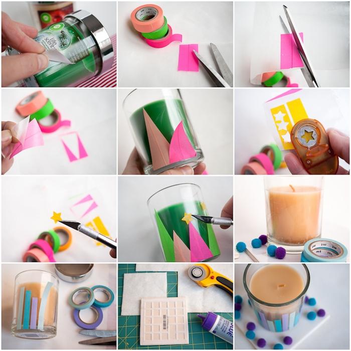 idée comment fabriquer un bougeoir dans un pot en verre, décoré de washi tape, motifs sapin de noel, etoiles et bandes colorées, deco noel a faire soi meme