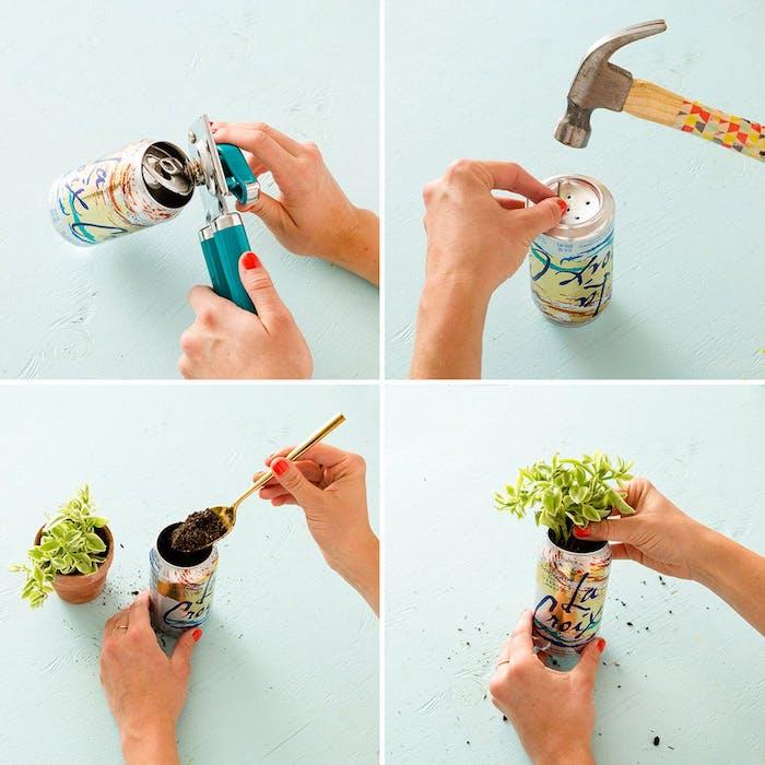 diy chambre ado, pot de fleurs fabriqué dans une canette boisson, idée activité manuelle adulte decoration chambre