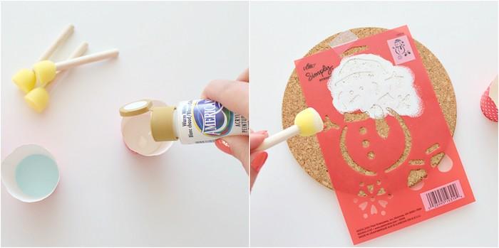 bricolage de noel facile, dessin au pochoir et peinture blanche sur une rondin en liège, sous verre, dessous de plat