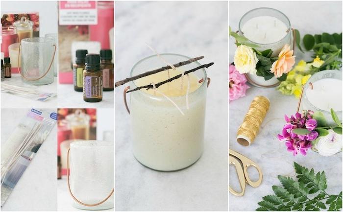 idée de diy mariage, comment faire un bougeoir dans un pot en verre, verser de la cire, décoration florale simple