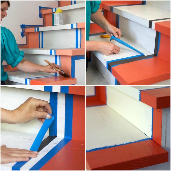 les étapes pour repeindre un escalier à motifs rayures, petites boîtes, peinture rose, rouge, noire et blanche, bricolage facile