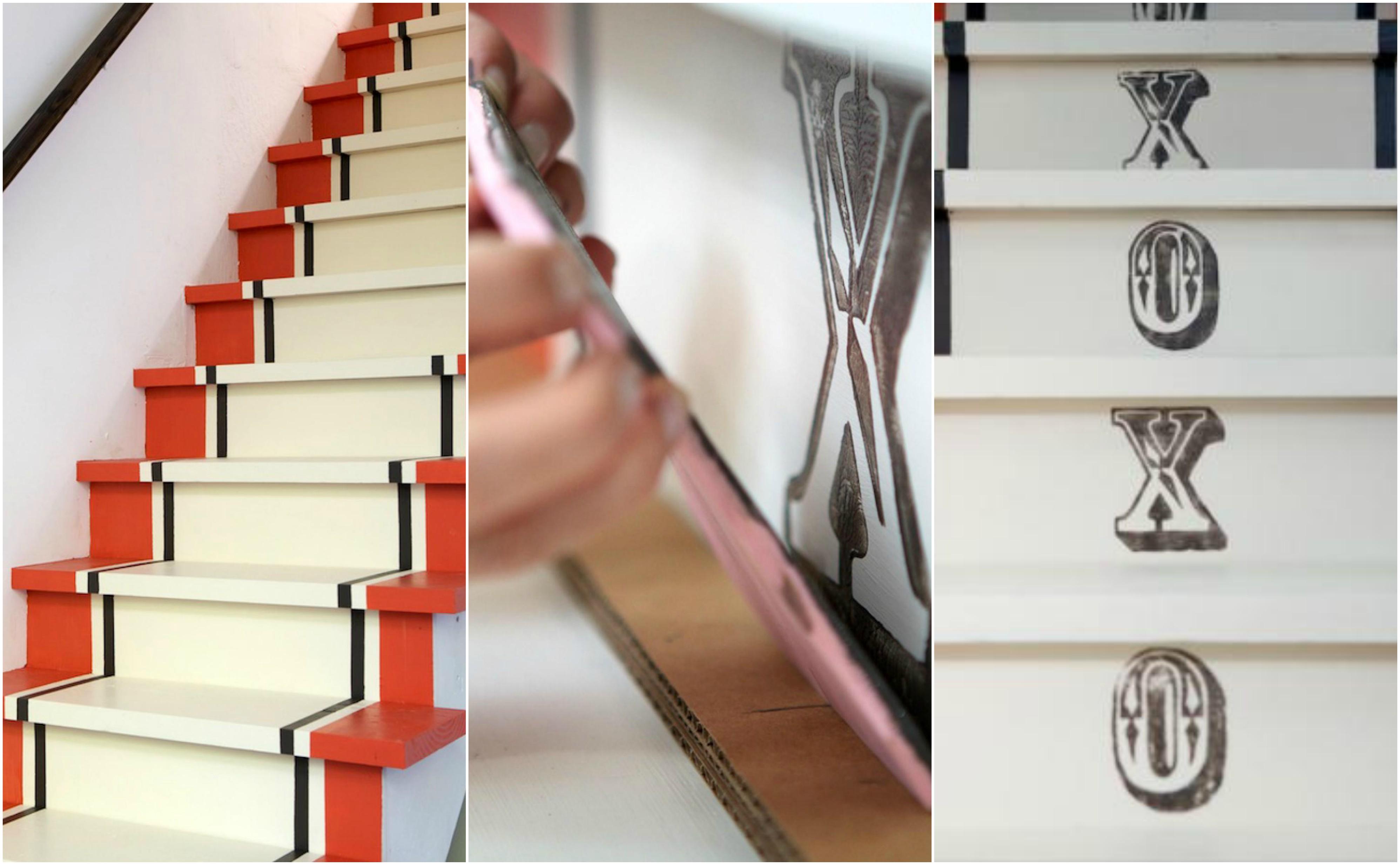 comment créer un motif rayures sur un escalier repeint et stampe en lettes noires sur les contremarches, déco montée d escalier simple