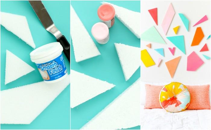 tete de lit a faire soi meme en pièces de mousse en forme geometrique colorées, coussins colorés, linge de lit blanc, diy deco bricolage facile