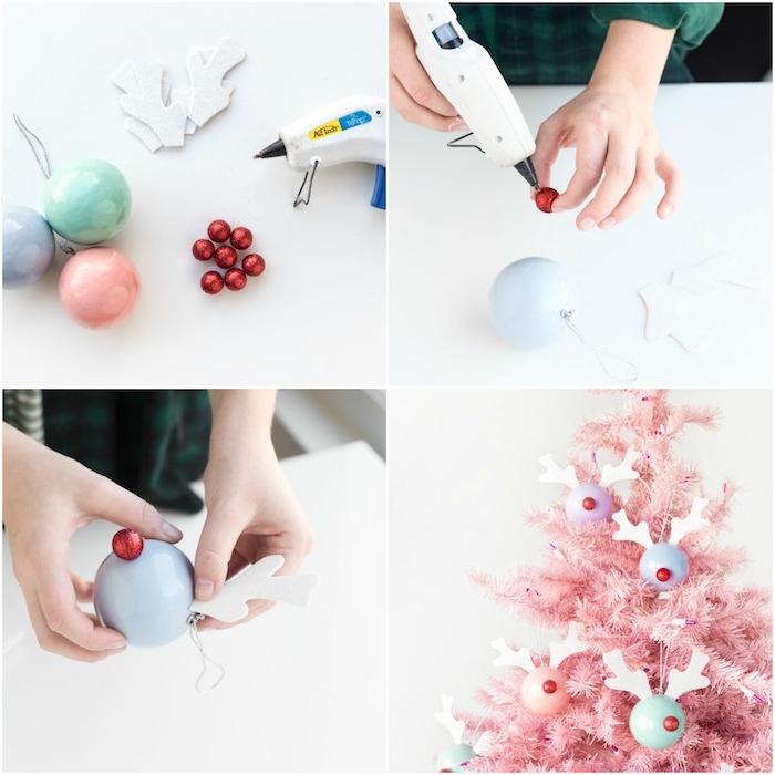 activite manuelle noel, boule de noel couleur pastel, décoré de nez rouge et bois en feutrine pour décorer un sapin de noel rose