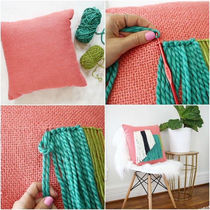 idée de coussins en laine roses décorés de chutes de laine bleue et vert, activité manuelle adulte, diy deco