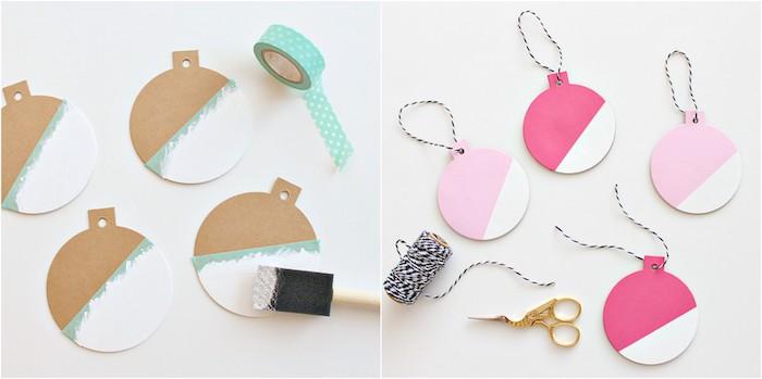 formes à décorer avec de la peinture blanche et rose à l aide de washi tape, comment décorer un sapin de noel, bricolage noel maternelle