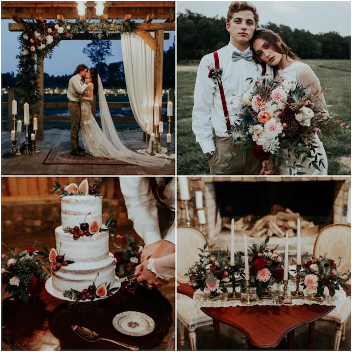 deoc champetre automnale, fleurs, bougies et arche fleurie dans des couleurs d automne, couple mariée sympa, jolie robe champetre