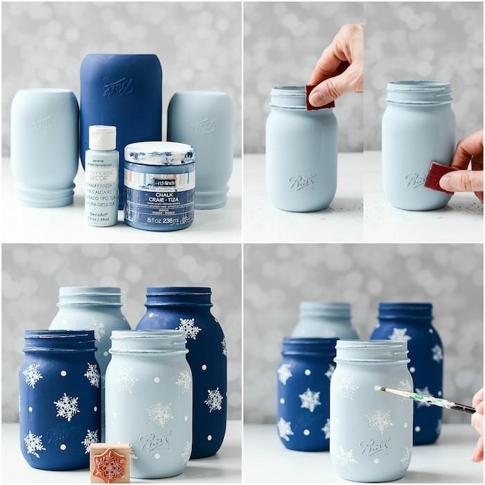 decoration de noel a faire soi meme, pot en verre décoré de peinture bleue, motif flacon de neige fait au cachet de peinture blanche
