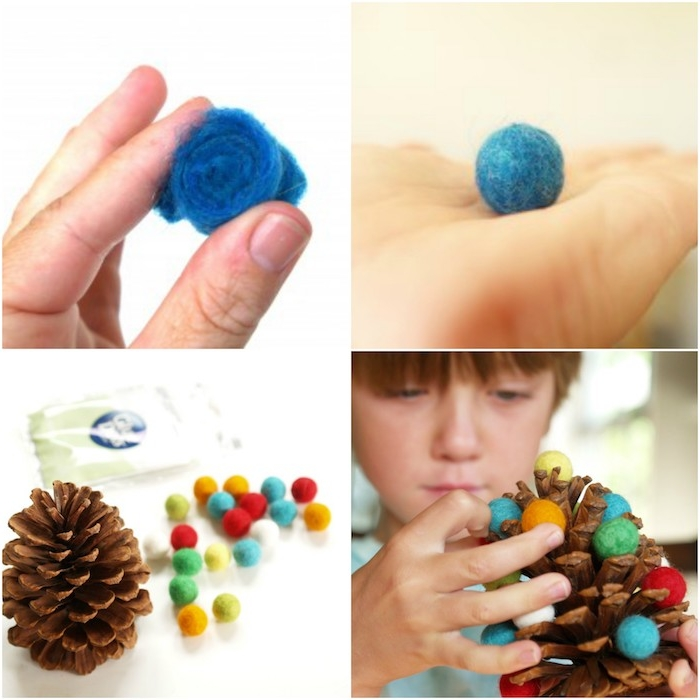 que faire avec des pommes de pin, pomme de pin avec decoration de pompons colorés, activité manuelle primaire