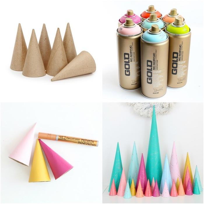 deco noel a faire soi meme, des cones en papier maché colorés de peinture et customisés avec marqueur liquide doré