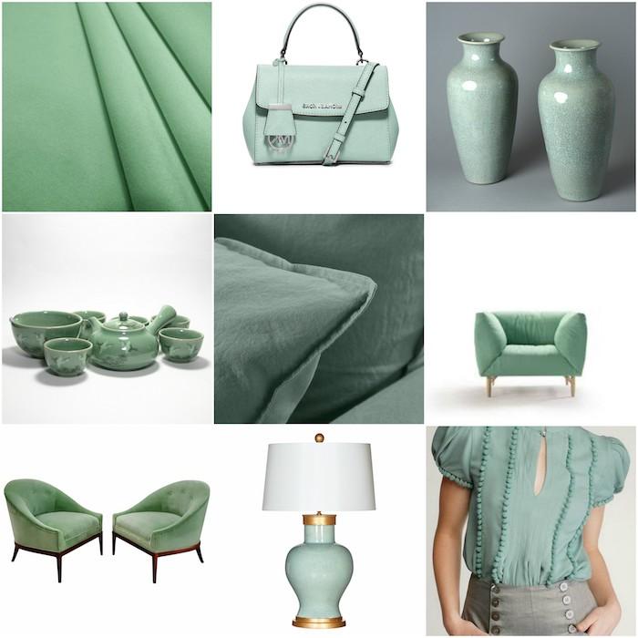 comment adopter le vert celadon, couleur tendance en mode et design d interieur, céramique, tissus, mobilier, accessoire mode femme couleur vert de gris