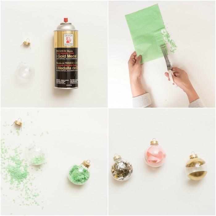 fabriquer une boule de noel personnalisée, exemple de boules transparentes remplies de confettis, ruban ou décorées de peinture, bricolage facile deco sapin de noel