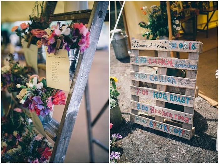 diy mariage facile, palette en bois avec programme mariage, déroulement de la journée, echelle decorative fleurie avec des listes invités