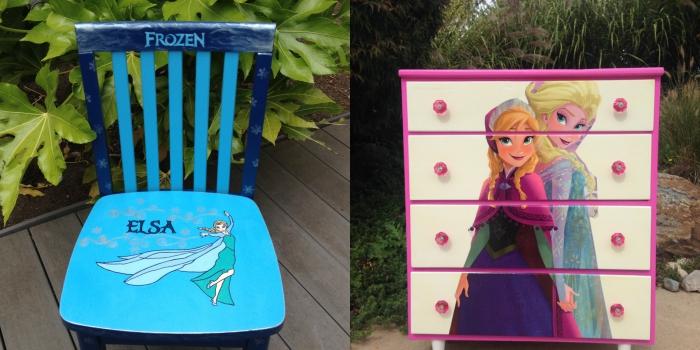 bricolage maison pour fabriquer déco chambre enfant, peinture chaise bois en bleu avec dessin Elsa