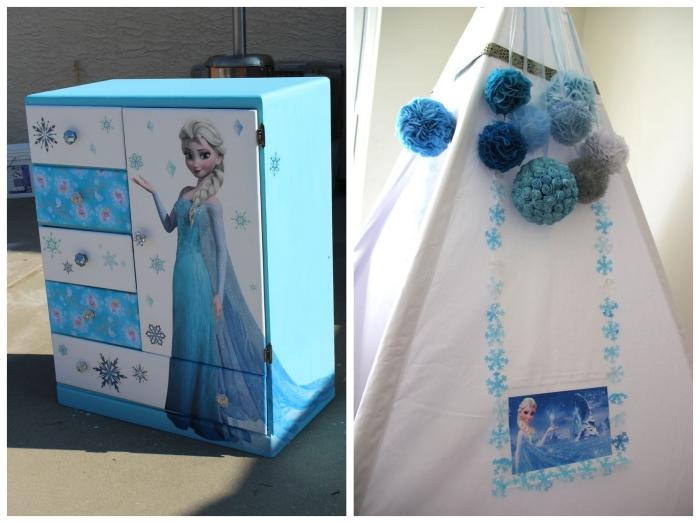 activité manuelle pour diy chambre, armoire peinte en bleu et blanc avec sticker Elsa et flocons de neige
