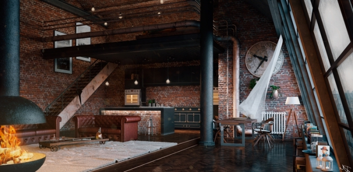 aménagement de salon et cuisine ouverte en style industriel loft, revêtement murale aux briques rouge et plancher en bois marron foncé