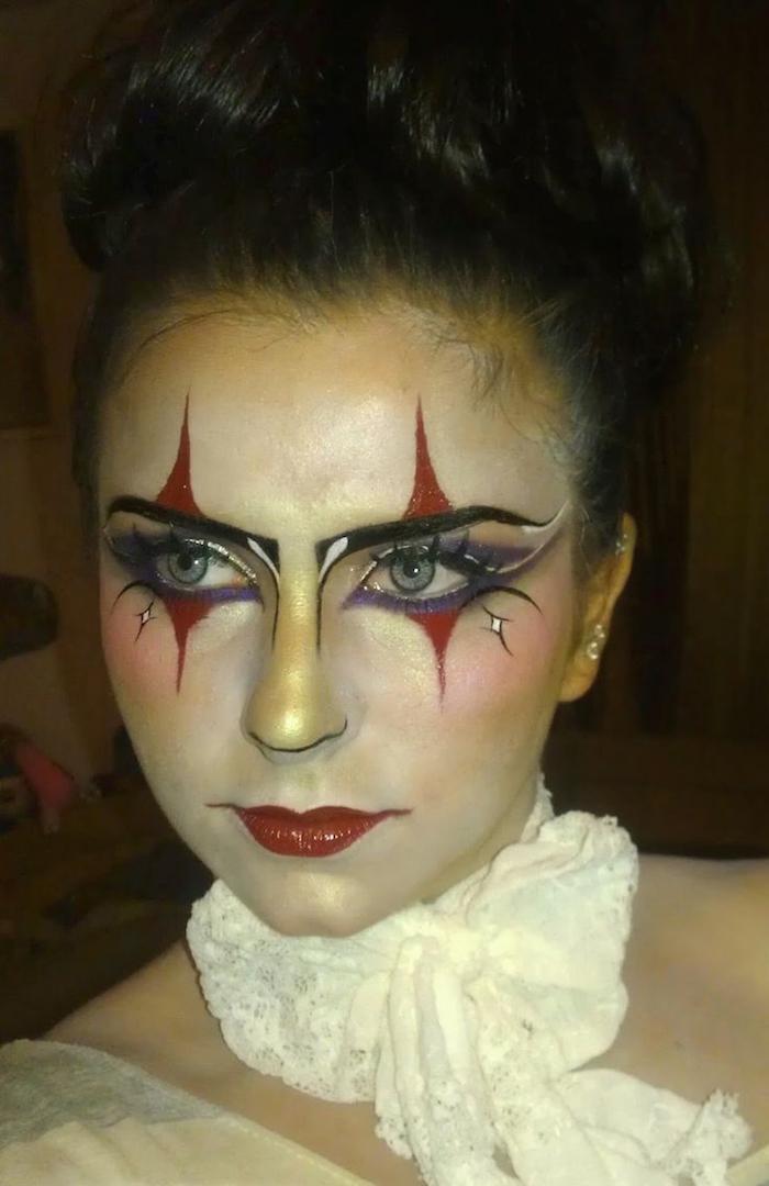idée maquillage fete carnaval style clown femme