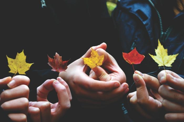 Originale photo de groupe originale idée originale de photographie automne cool idee avec feuilles d automne