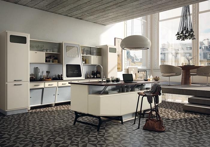 deco scandinave, cuisine avec ilot central en blanc et bois massif foncé, cuisine avec escalier vers la salle à manger