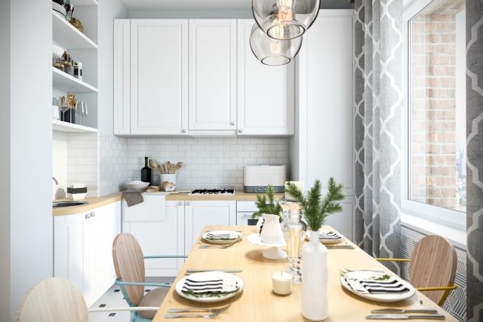 déco scandinave, aménagement cuisine ouverte vers la salle à manger, aménagement petit espace avec meubles pratiques