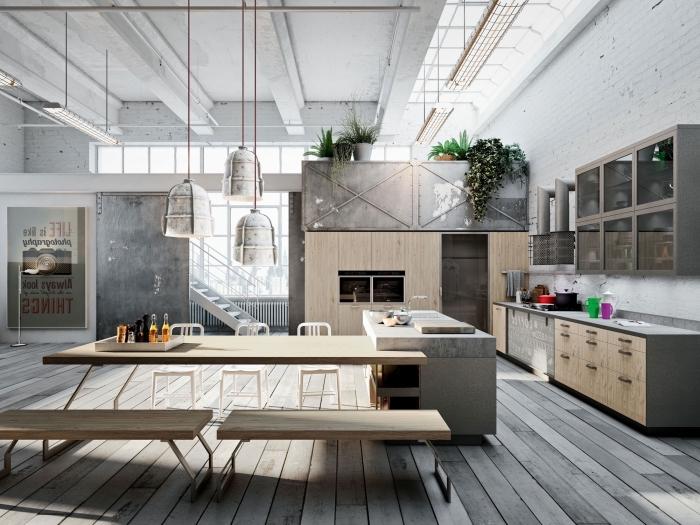 armoire industrielle, aménagement de cuisine ouverte avec salle à manger intégrée, chambre loft aux murs blancs et plafond avec poutres