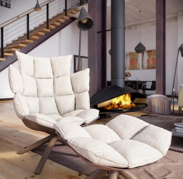 comment décorer le salon loft, modèle de fauteuil avec tabourets en siège blanche et pieds de bois