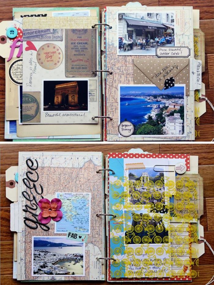 modèle de carnet de voyage, exemples pages dans un album photo à thème voyage avec photo et notes
