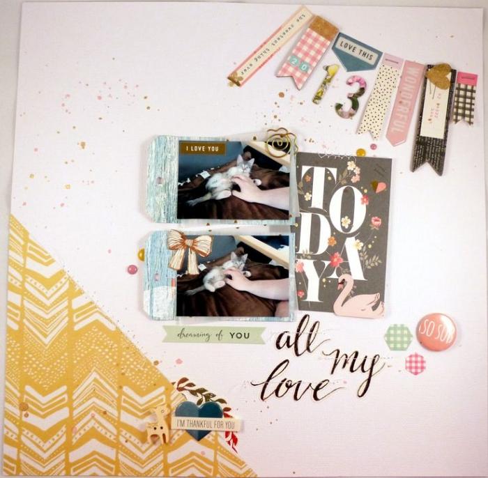 loisir creatif, comment créer un cadeau diy avec photos et ruban adhésif, page scrapbooking à design simple