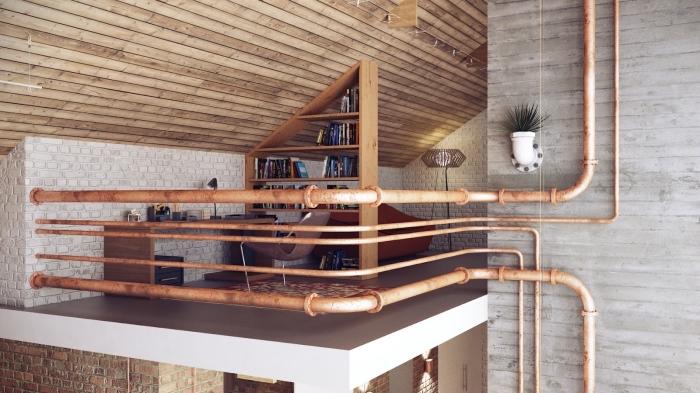 déco en style industriel, aménagement office à domicile aux murs de briques blanches et plafond en bois clair
