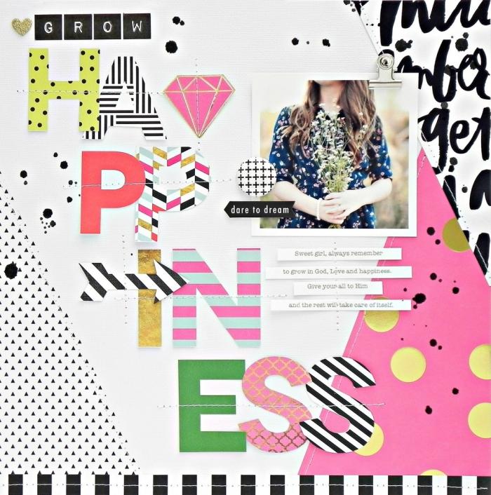 exemple scrapbooking, art du papier blanc avec lettres multicolore et photo personnelle, collage avec lettres inspirantes