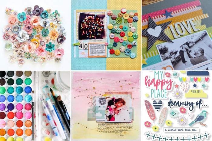 matériel scrapbooking, idées quels embellissements choisir pour un album ou une carte photo scrapbooking