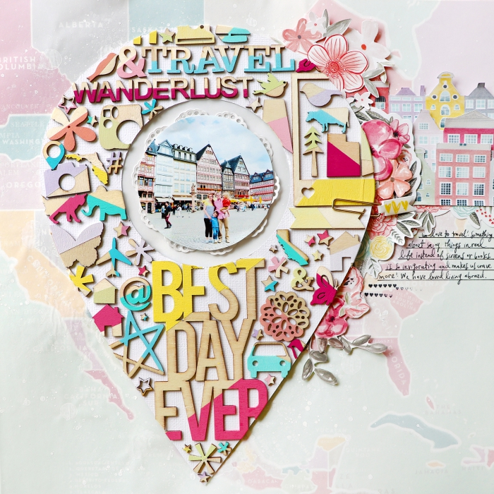 exemple scrapbooking, faire un collage photo avec ses photos de voyage, papier coloré avec fleurs en papier et lettres scrapbooking