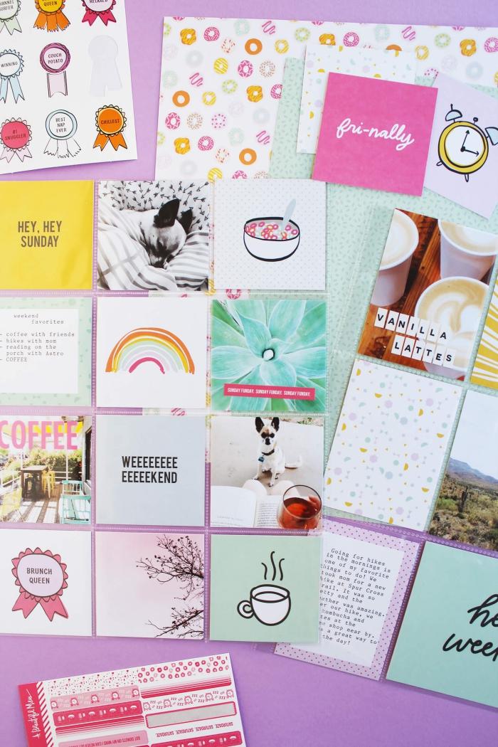 matériel scrapbooking, posters et dessins imprimés pour décorer son album ou carte postal scrapbooking