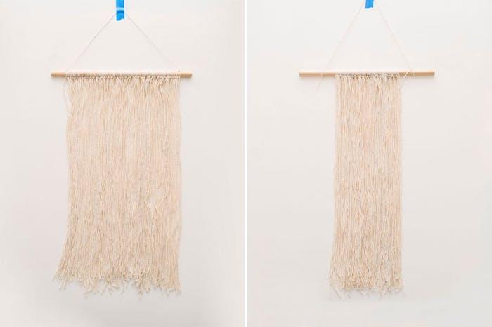 deco chambre fille ado a faire soi meme, macramé, baguette en sois avec des fils de laine suspendues pour decoration murale