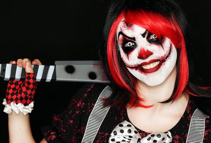 modèle maquillage adulte clown horreur