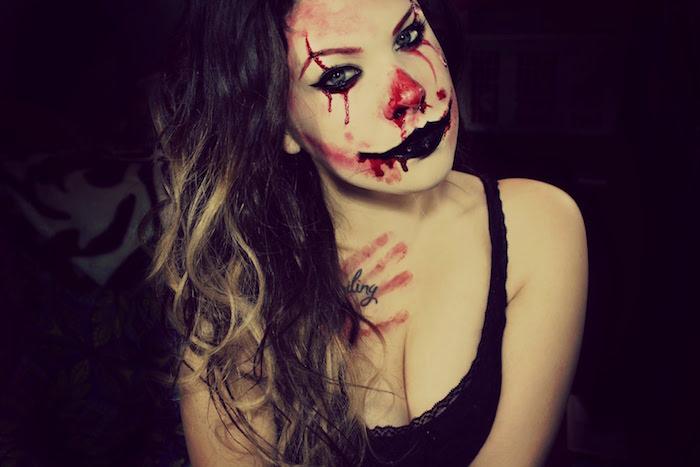 maquillage horreur clown méchant pour halloween