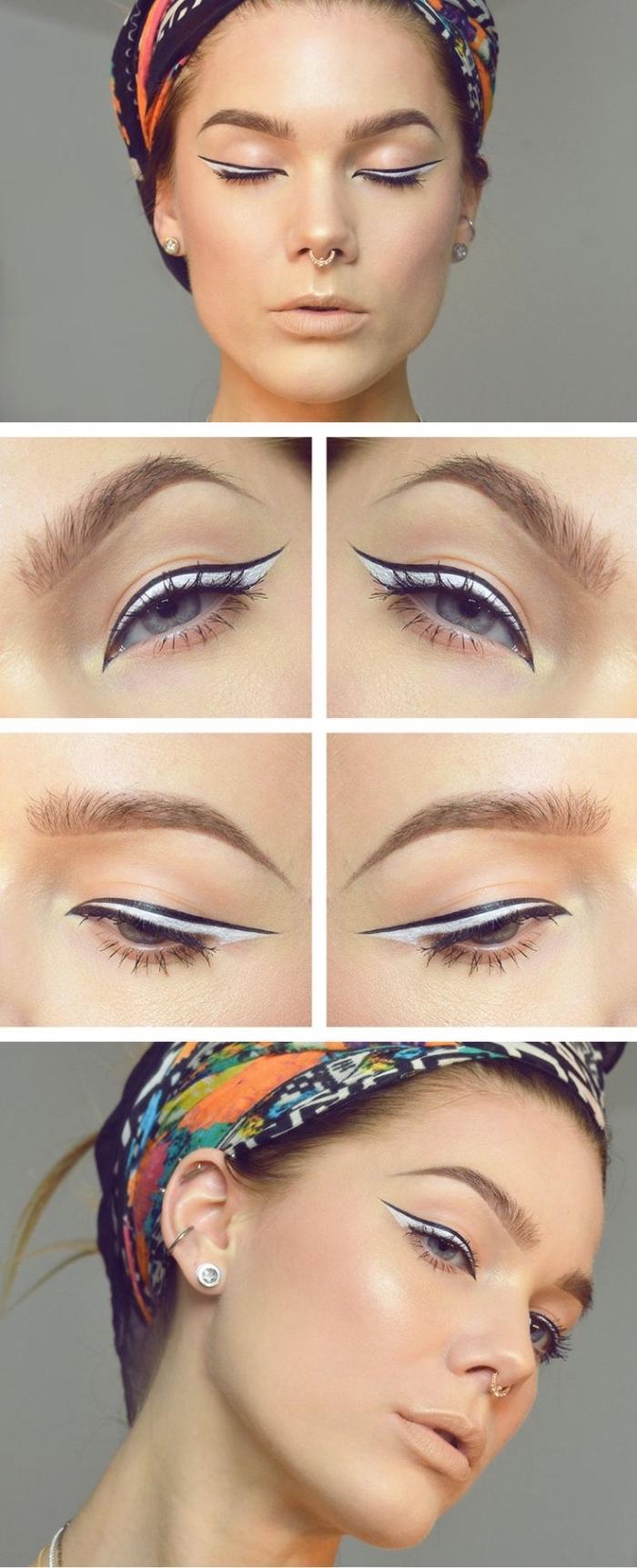tuto maquillage yeux bleus, coiffure cheveux attachés, contouring visage facile au fond de teint nuance pêche et lèvres nude