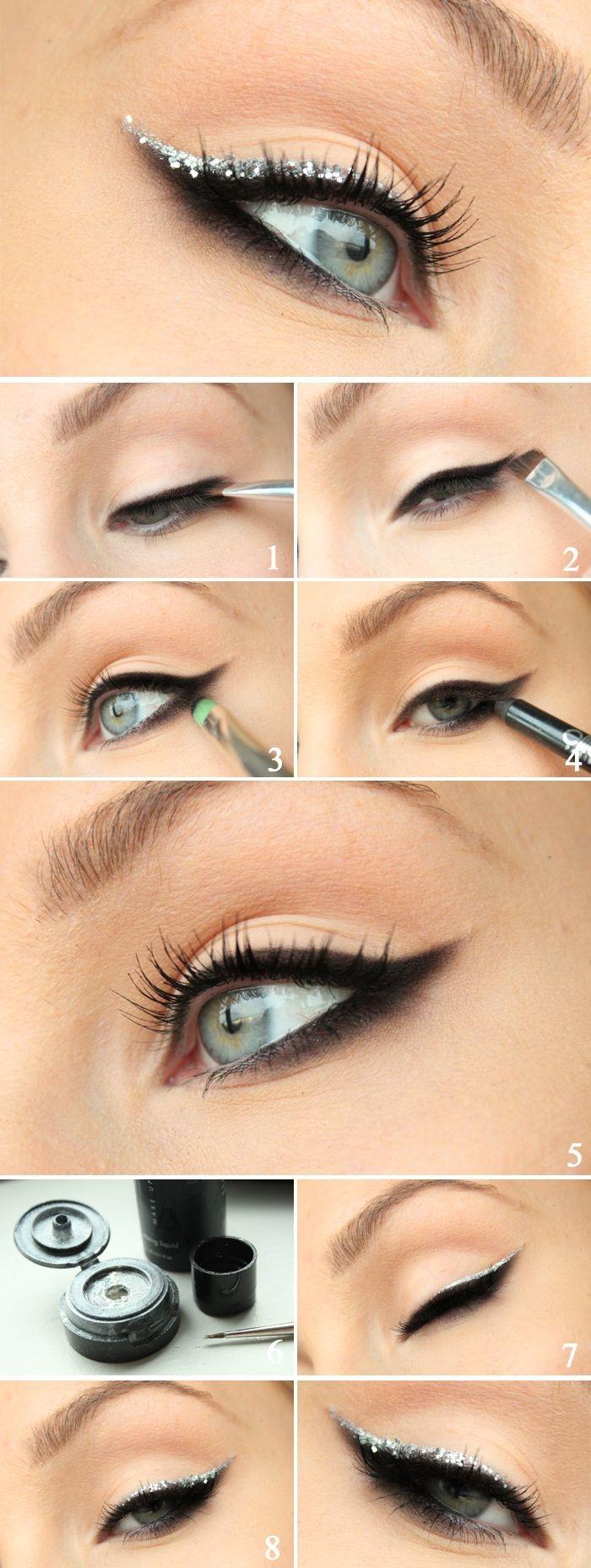 tuto maquillage teint, comment appliquer eye-liner noir avec ligne brillante, maquillage yeux verts avec mascara noir volume