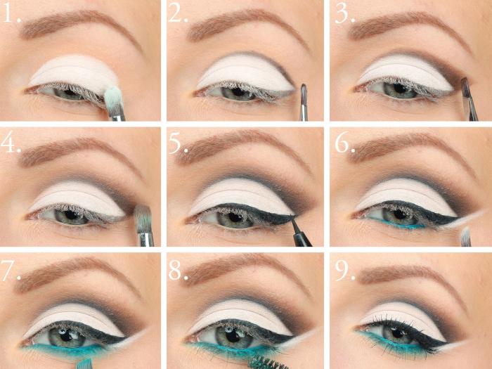 comment se maquiller les yeux, étapes à suivre pour mettre fards à paupières blancs avec eye-liner noir et bleu