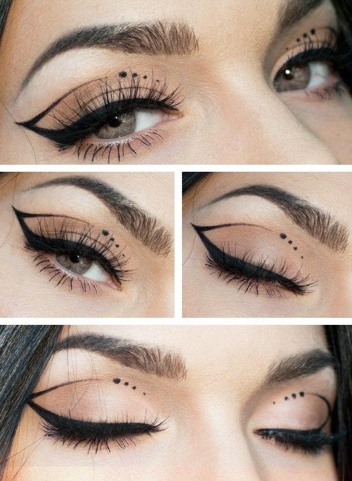 tuto maquillage yeux, comment dessiner ses paupières avec eye-liner noir, fards à paupières de nuance marron avec mascara noir