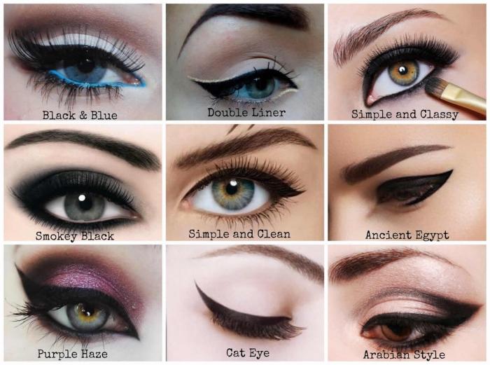 echnique maquillage yeux marrons bleu et verts, comment appliquer l'eye-liner noir de différentes façons