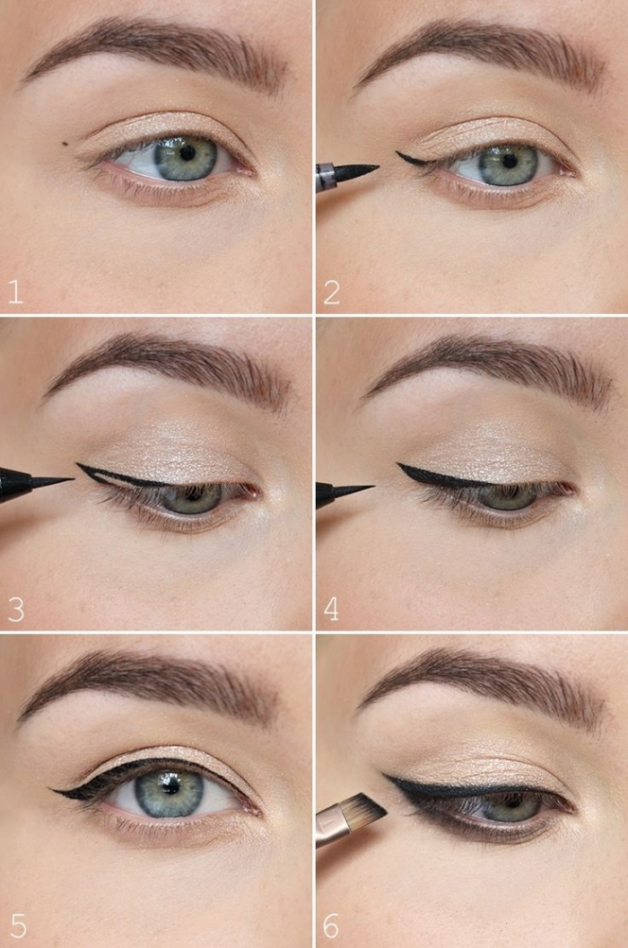 tuto maquillage facile, comment maquiller ses yeux avec eye-liner noir et ombres nude, maquillage yeux verts