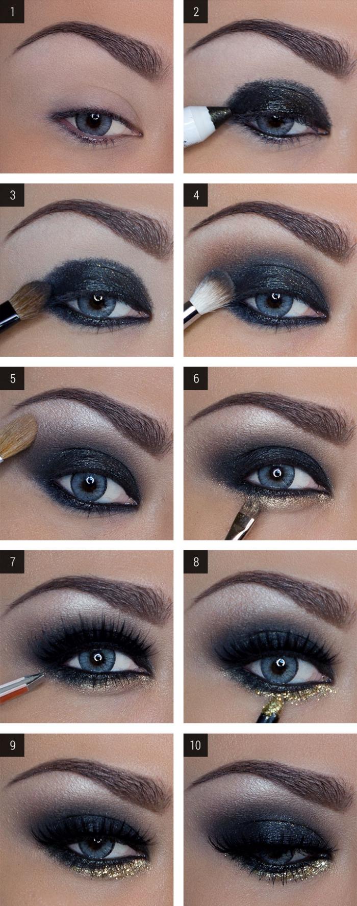 comment faire un maquillage des yeux foncés, étapes à suivre pour mettre fards à paupières foncées avec eye-liner glitter