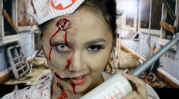 maquillage mort vivant zombie deguisement infirmiere