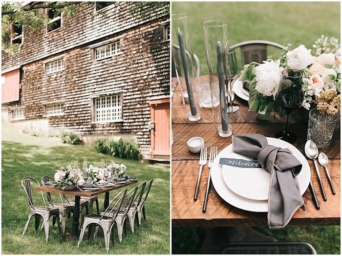 deco table mariage champetre en plein air, bois rustiques, chaises metalliques, centre de table floral, serviette grise